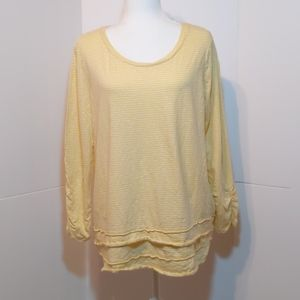 New Directions 100% Cotton Yellow/White  Top XL